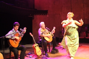 Keola, Moanalani and Jeff performing at the Teatro Paoil in Curitiba, Brazil. Photo Credit / Paul Rockower